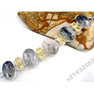Турмалин шерл Турмалиновый кварц. БРАСЛЕТ серебро