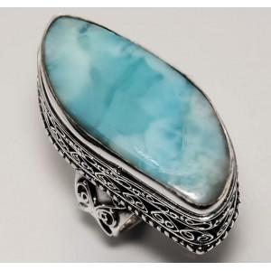 Карибский ЛАРИМАР серебро. Крупное кольцо РЕДКОСТЬ
