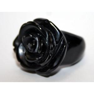 Черный АГАТ крупная РОЗА, резьба по камню. КОЛЬЦО