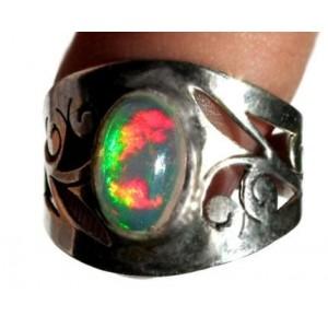 4,45ct Эфиопский многоцветный ОПАЛ серебро, кольцо
