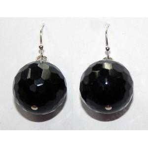 Черный ТУРМАЛИН шерл камень ведьм, серебро, СЕРЬГИ