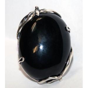 Огромный ! Черный АГАТ в серебре. Кольцо перстень