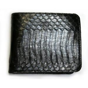 Кожа змеи NAJA SPUTATRIX черный портмоне бумажник