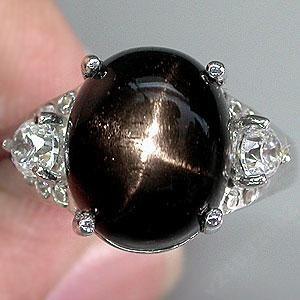 Звездчатый ДИОПСИД черная звезда - РЕДКИЙ ! Кольцо