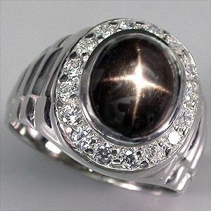 Звездчатый ДИОПСИД - ЗВЕЗДА, золото, серебро,перстень, кольцо