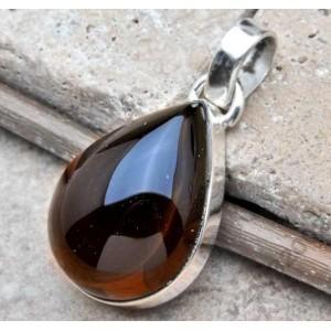 Натуральный РАУХТОПАЗ - Дысчатый кварц в стерлинговом серебре. Подвеска, кулон