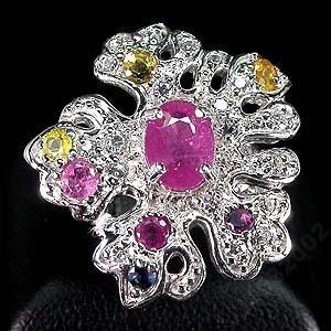 Кольцо из серебра - рубин, турмалин, цирконий, размер 18
