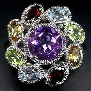 Кольцо из серебра - Топаз, Аметист, Цитрин, Перидот, Гранат, размер 17