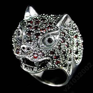 ЯГУАР ! Fashion кольцо: серебро, натуральный ГРАНАТ