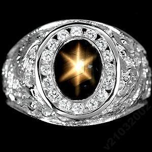 Звездчатый САПФИР - ПАДПАРАДЖА. Серебро 925, золото 585. Кольцо