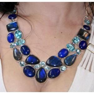 Колье: Ожерелье и браслет, Лабрадор, Лазурит, Топаз, Аметист, серебро