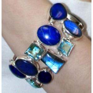 Браслет: Ожерелье и браслет, Лабрадор, Лазурит, Топаз, Аметист, серебро