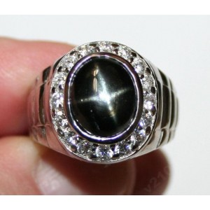 Звездчатый ДИОПСИД - ЗВЕЗДА, золото, серебро, кольцо, перстень