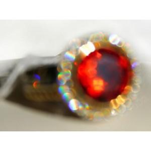 Кольцо с ярко оранжевым сверкающим фианитом, золото, серебро