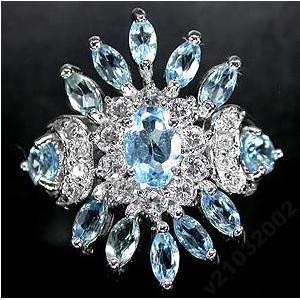 Природный ТОПАЗ SWISS BLUE, золото, серебро, КОЛЬЦО