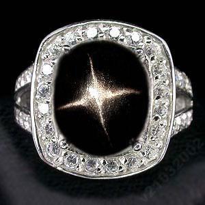 Кольцо, Звездчатый ДИОПСИД - ЗВЕЗДА, золото, серебро, перстень 18