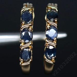 Серьги кольца: натуральный САПФИР, золото, серебро