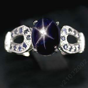 Звездчатый САПФИР, синий, звезда,  золото, серебро, кольцо