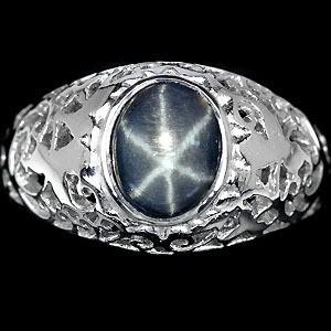 Звездчатый САПФИР синий. Золото, серебро, кольцо