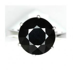 Чёрная ШПИНЕЛЬ, бриллиантовая огранка. Золото, серебро, кольцо 17,25