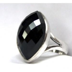 Чёрная ШПИНЕЛЬ, бриллиантовая огранка. Серебро, золото, кольцо 18,25