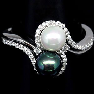"""ЖЕМЧУГ природный Южных морей - South Sea Pearls. Золото, серебро. Кольцо """"Инь и Ян"""""""