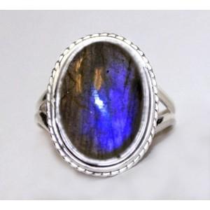 Черный Лунный камень - ЛАБРАДОР / лабрадорит. Серебро 925. Кольцо, р. 20,5
