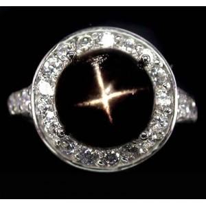 Звездчатый ДИОПСИД - ЗВЕЗДА, золото, серебро. Кольцо