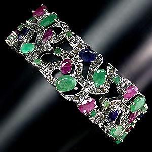 Браслет *ЦАРСКИЙ*. Природные натуральные камни: Изумруд, Рубин, Сапфир, Марказит в золоте и серебро
