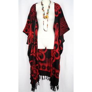 Накидка ДЛИННАЯ, красно - черная, 2X-6X платье туника 100% Rayon Индонезия