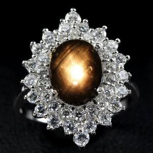 Звёздчатый САПФИР - ПАДПАРАДЖА в серебре с золотом. Кольцо 17.25