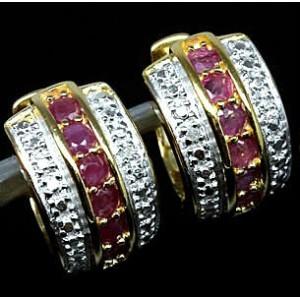 РУБИНЫ бирманские + 2 бриллианта, золото, серебро. СЕРЬГИ кольца