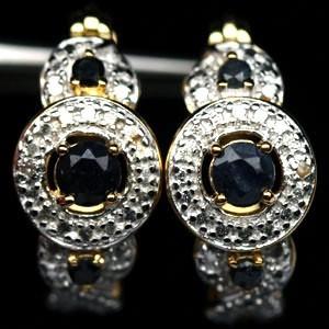 САПФИРЫ природные + 2 бриллианта, золото, серебро. СЕРЬГИ