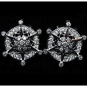 Сверкающие дизайнерские СЕРЬГИ - ЗВЕЗДА в бриллиантовой огранке, золото, серебро. Серьги