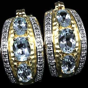 ТОПАЗЫ природные + 2 бриллианта, золото, серебро. СЕРЬГИ