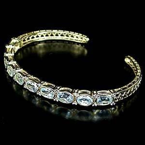 ТОПАЗЫ природные + 2 бриллианта, золото, серебро. БРАСЛЕТ