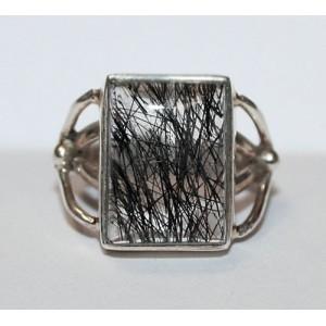 Турмалиновый кварц - шерл в кварце. Серебро 925. КОЛЬЦО