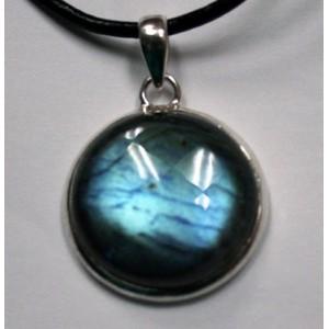 ЛАБРАДОР / лабрадорит - Черный ЛУННЫЙ КАМЕНЬ с эффектом следящего глаза в серебре . Подвеска