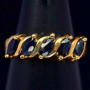 Черно-синие САПФИРЫ природные. Желтое золото 585, стерлинговое серебро 925. Кольцо