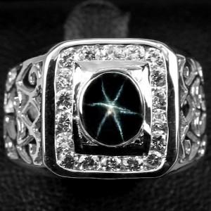 VIDEO ! Перстень мужской : Звездчатый САПФИР синий. Золото, серебро, кольцо