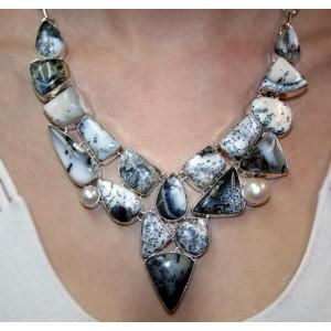 АГАТ ДЕНДРИТОВЫЙ / МОХОВОЙ, природный в серебре. КОЛЬЕ. Ожерелье