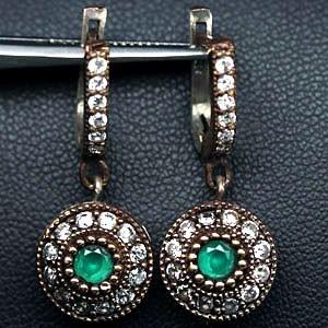 Серьги ТАЙНА ВОСТОКА с зеленым АГАТОМ. Османская коллекция. Серебро