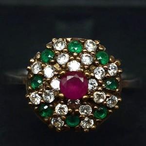 Кольцо ТАЙНА ВОСТОКА с АГАТАМИ, серебро, позолота. Великолепный Век