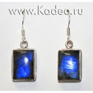 Индиго ЛАБРАДОР / лабрадорит - Черный Лунный Камень. Серебро 925. СЕРЬГИ