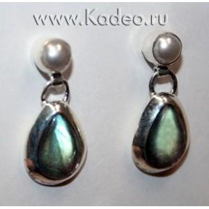 Натуральный магический камень ЛАБРАДОР / лабрадорит - Рысий глаз. Стерлинговое серебро 925. СЕРЬГИ