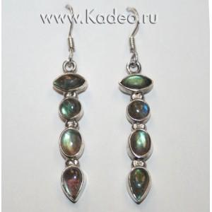 Натуральный магический камень ЛАБРАДОР / лабрадорит - Рысий глаз. Стерлинговое серебро 925. СЕРЬГИ удлиненные