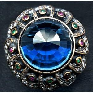 """VIDEO ! Османский перстень """"СУЛТАН"""" с АКВА ТОПАЗОМ и АГАТАМИ в серебре с позолотой"""