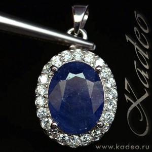 Синий натуральный САПФИР, цирконы, золото, серебро. ПОДВЕСКА