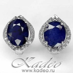 Серьги: САПФИР природный, глубокий синий. Белое золото, цирконы, серебро