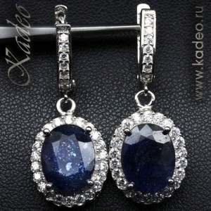 САПФИРЫ крупные, натуральные, DEEP BLUE. Белое золото, белые топазы, серебро,. Серьги
